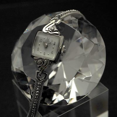 ハミルトン レディーハミルトン ダイヤ装飾 14KWGケース スクエアシェイプ アンティーク 手巻き レディースウオッチ 02