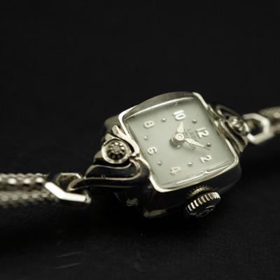 ハミルトン レディーハミルトン ダイヤ装飾 14KWGケース スクエアシェイプ アンティーク 手巻き レディースウオッチ 03