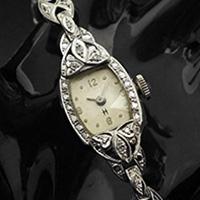 ハミルトン ダイヤ装飾 14KWGケース トノーシェイプ アンティーク 手巻き レディースウオッチ