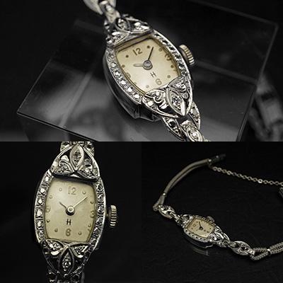 ハミルトン ダイヤ装飾 14KWGケース トノーシェイプ アンティーク 手巻き レディースウオッチ 02