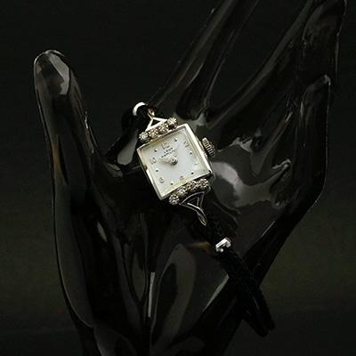 ハミルトン レディーハミルトン ダイヤ装飾 14KWGケース スクエアシェイプ アンティーク レディースウオッチ
