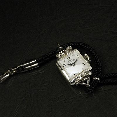 ハミルトン レディーハミルトン ダイヤ装飾 14KWGケース スクエアシェイプ アンティーク レディースウオッチ 02