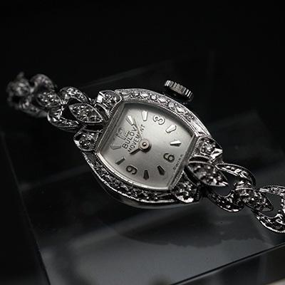 ブローバ ダイヤ装飾 14KWGケース&ブレスレット 手巻き レディースウオッチ アンティーク 02
