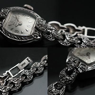 ブローバ ダイヤ装飾 14KWGケース&ブレスレット 手巻き レディースウオッチ アンティーク 03