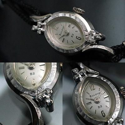 ブローバ ダイヤ装飾 アーモンド型ケース 手巻き アンティークレディースウオッチ 03