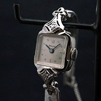 ブローバ ダイヤ装飾 14KWGケース 手巻き レディースウオッチ アンティーク