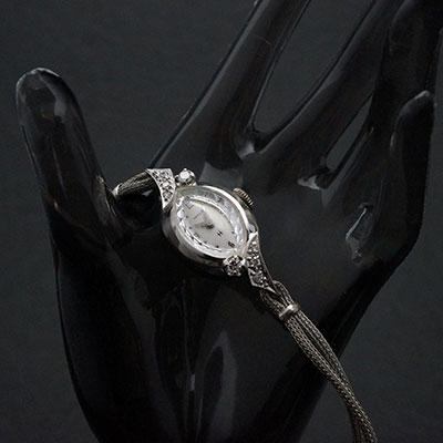ハミルトン ダイヤ装飾 14KWGケース アーモンドシェイプ アンティーク 手巻き レディースウオッチ 02