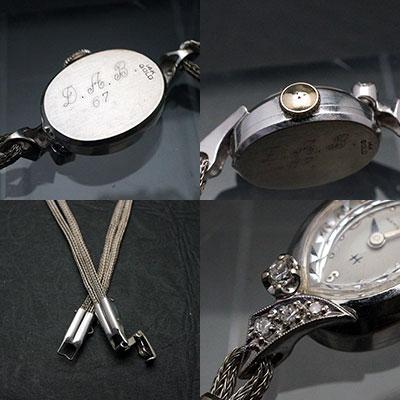 ハミルトン ダイヤ装飾 14KWGケース アーモンドシェイプ アンティーク 手巻き レディースウオッチ 03