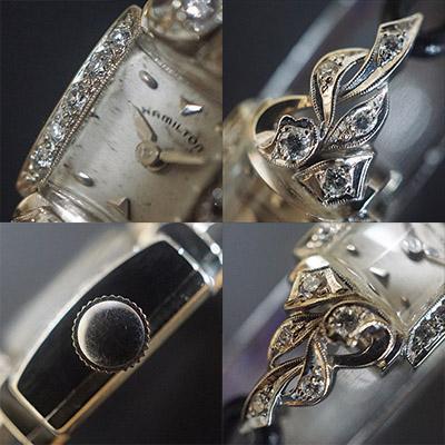ハミルトン ダイヤ装飾 10KWGケース スクエアシェイプ アンティーク レディースウオッチ 05