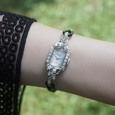 ハミルトン ダイヤ装飾 10KWGケース スクエアシェイプ アンティーク レディースウオッチ 07