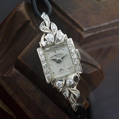 ハミルトン ダイヤ装飾 10KWGケース スクエアシェイプ アンティーク レディースウオッチ 08